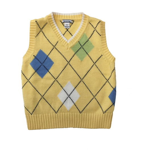 Boys Pastel Yellow Argyle Sweater Vest