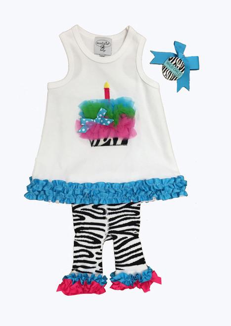 Birthday Cake and Zebra Pants Set, Baby Girl