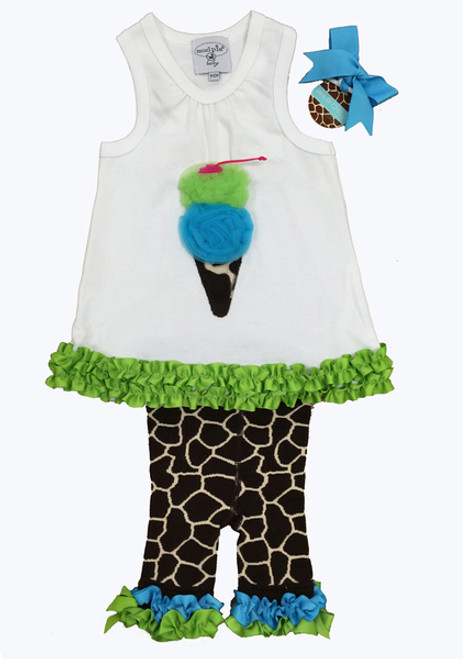 Ice Cream Top and Giraffe  Pants Set, Baby Girl