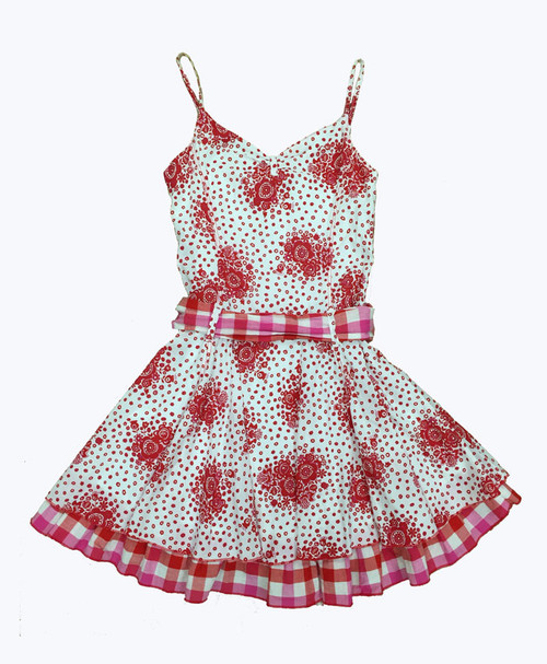 Red Check Floral Dress