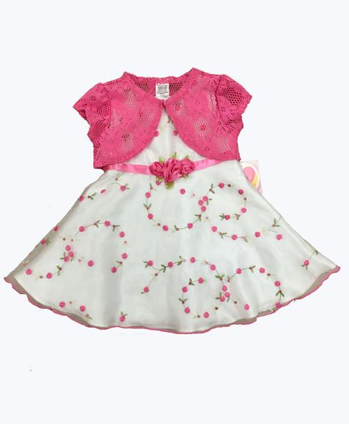 Organza Floral Dress & Crochet Shrug
