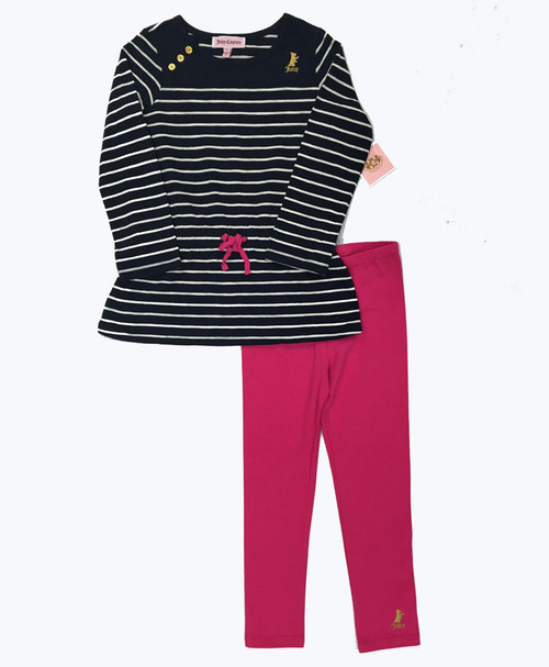 Navy Blue Striped Tunic Leggings Set