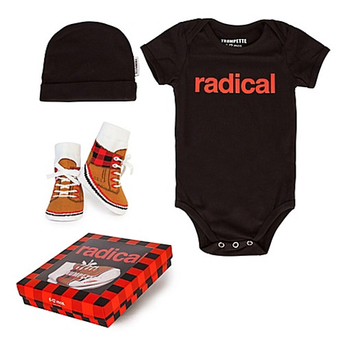 "Baby Boy 3-Piece ""Radical"" Bodysuit, Hat & Socks Gift Set"