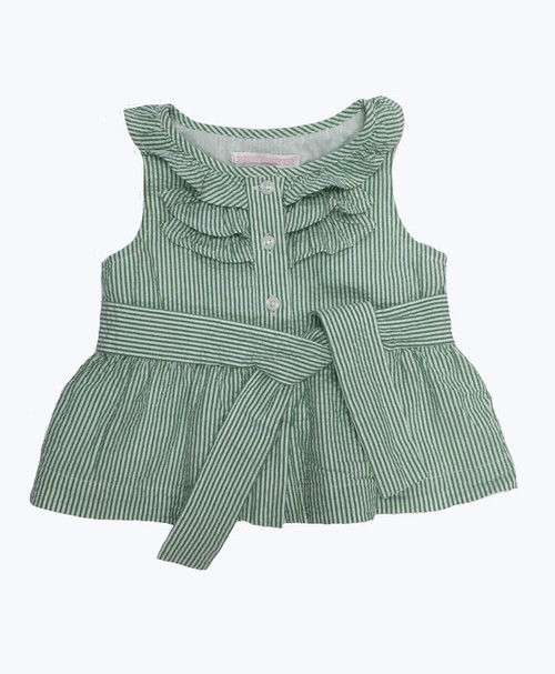 Green Stripe Seersucker Top, Baby Girls