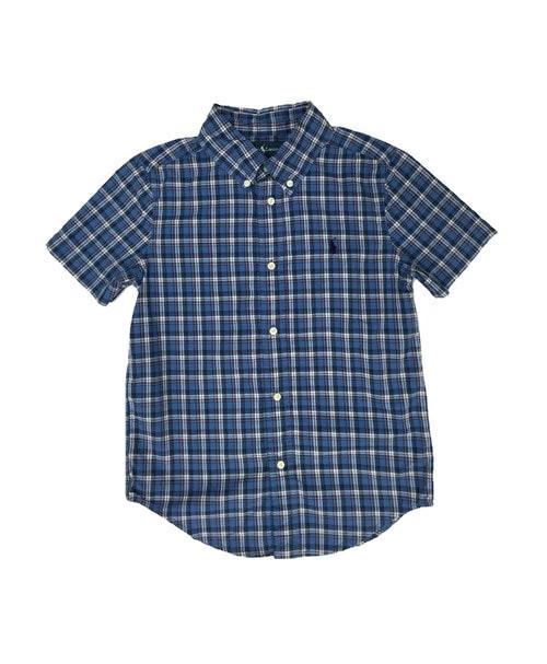 Blue Plaid Short Sleeve Button Down Shirt