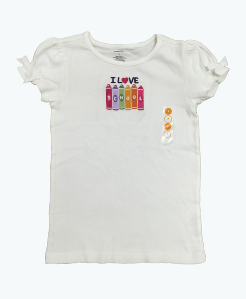 Crayon Embroidered Tee, Little Girls