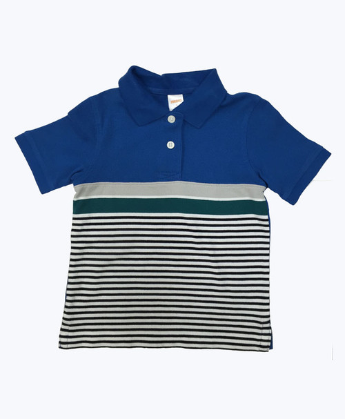 Blue & Green Striped Pique Polo