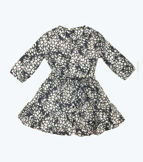 SOLD - Printed Tie-Belt Dress