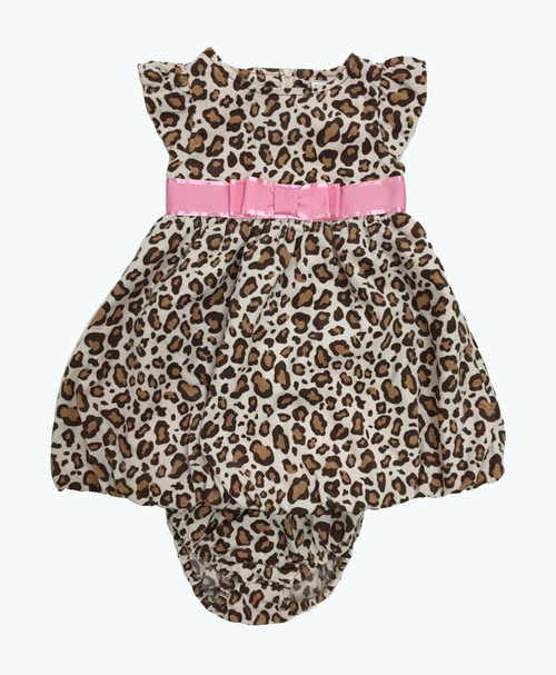 Pink Bow Leopard Corduroy Bubble Dress