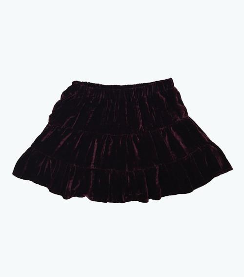 Burgundy Velour Skirt, Toddler Girls