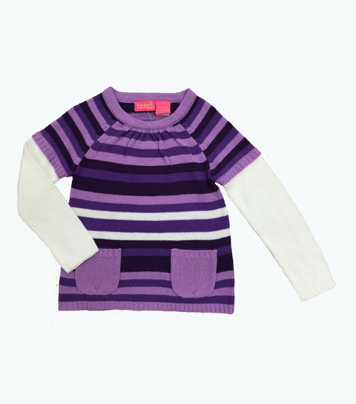 Purple Stripes Sweater Dress