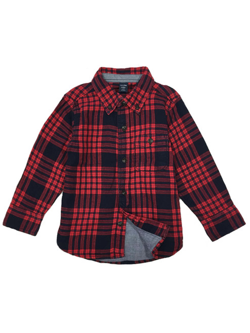 Lined Plaid Shirt, Little Boys