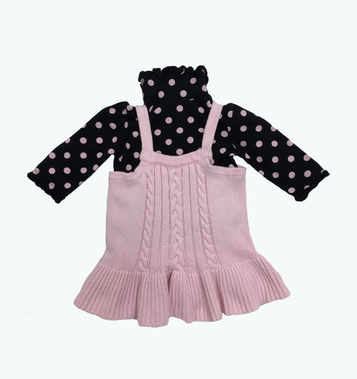 Pastel Pink Sweater & Polka Dot Shirt Set, Baby Girls