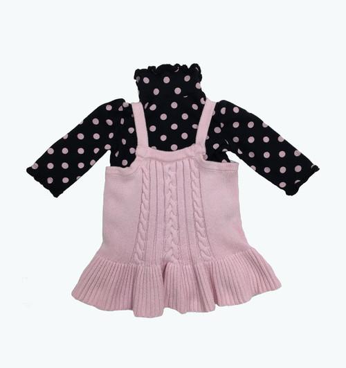 Pastel Pink Sweater & Polka Dot Shirt Set, Baby Girls