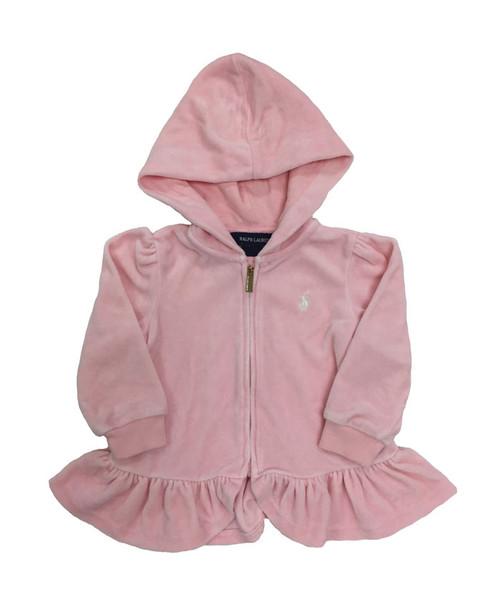 Pastel Pink Velour Hoodie, Baby Girls