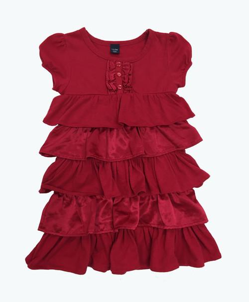 Red Satin & Knit Ruffle Dress