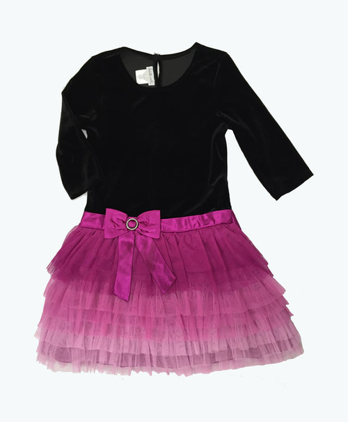 Black Pink Velour Tutu Dress
