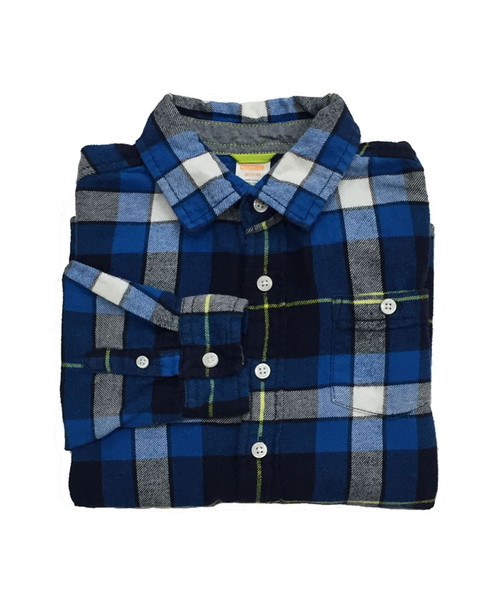 Boy Blue Plaid Flannel Shirt