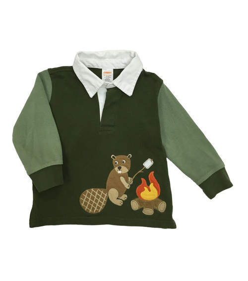 SOLD - Green Campfire Beaver Rugby Shirt