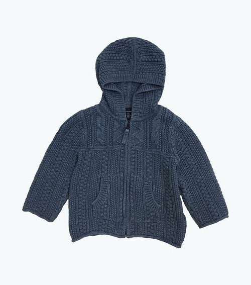 Dusty Blue Hooded Knit Cardigan