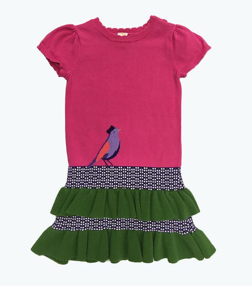 Pink Green Ruffle Sweater Dress