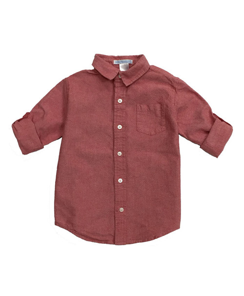 Coral Red Roll-Cuff Shirt , Toddler Boys