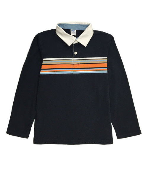 Navy Long Sleeve Polo Shirt, Little Boys