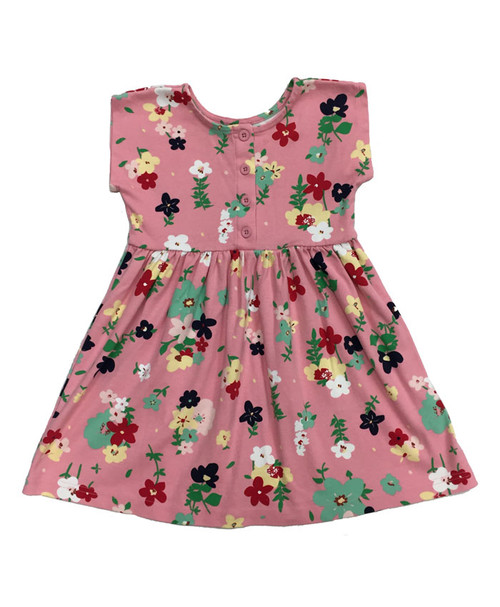 Grapefruit Pink Floral Dress, Little Girls