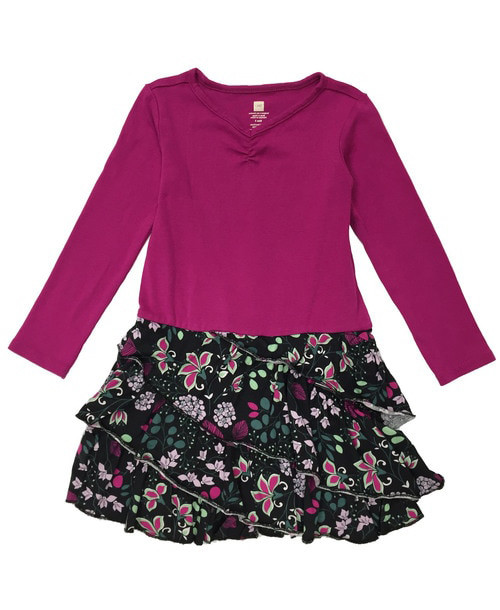 Fuchsia Black Ruffle Dress, Toddler Girl