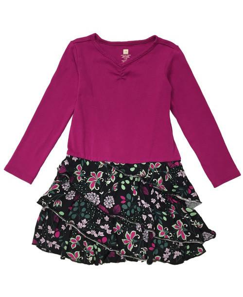 Fuchsia Black Ruffle Dress, Toddler Girls