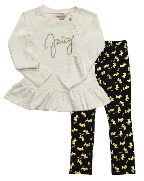 Metallic Tunic & Scottie Dog Pants Set, Little Girls