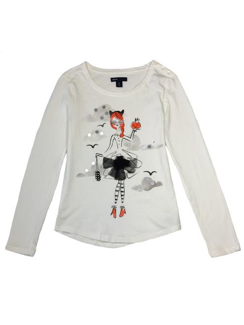 Embellished Pumpkin Graphic Tee Shirt, Little Girls