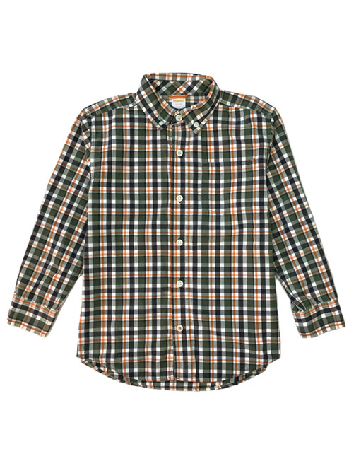 Orange & Green Plaid Button Front Shirt, Little Boys