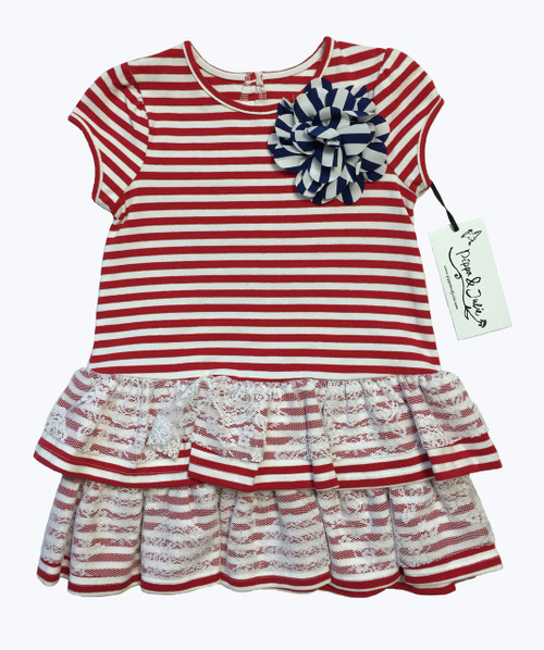Red White Stripes & Lace Dress