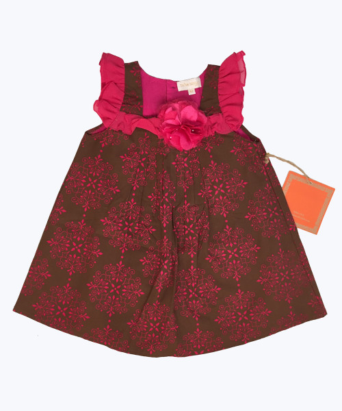 Brown Fuchsia Flower Dress