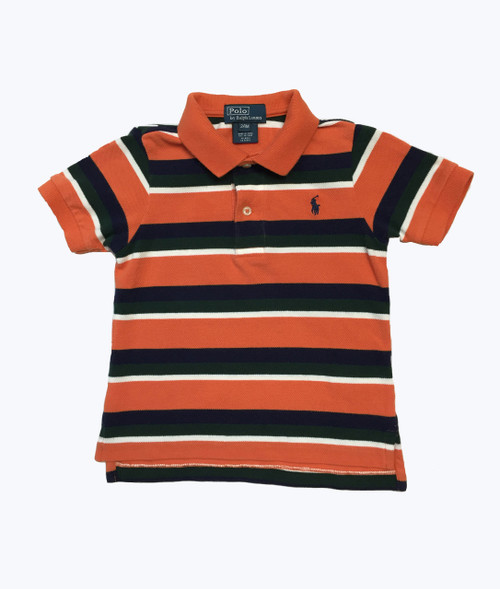 Orange Navy Striped Pique Polo Shirt, Baby Boy
