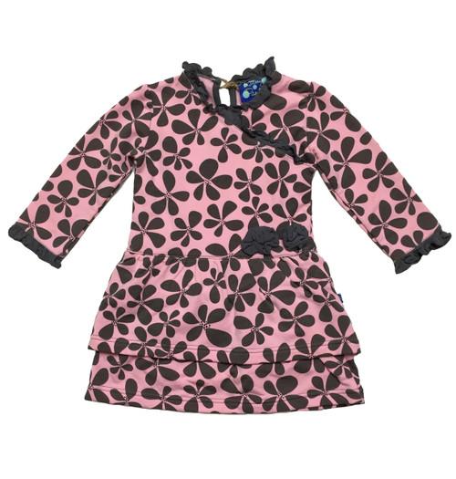 Brown & Pink Layered Ruffle Dress