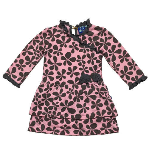 Brown & Pink Layered Ruffle Dress, Baby Girls