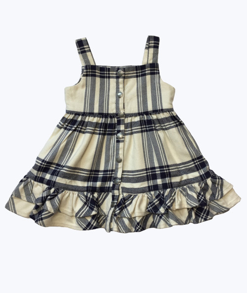 Cream & Navy Plaid Ruffle Jumper Dress