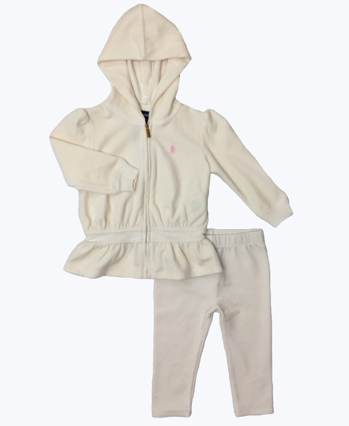Baby Girl Cream Velour Tracksuit