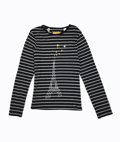 Black Striped Eiffel Tower Shirt, Big Girls
