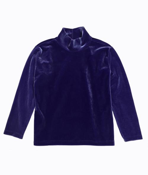 Purple Velvet Mockneck Shirt