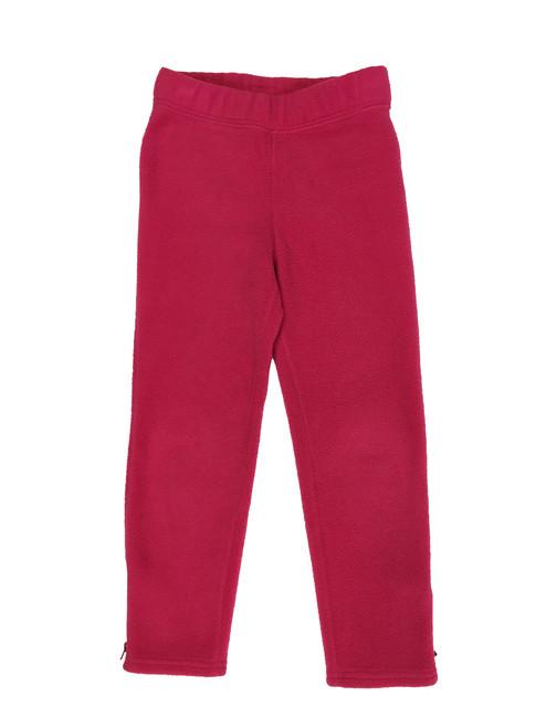 Hot Pink Zip Ankle Fleece Pants, Little Girls