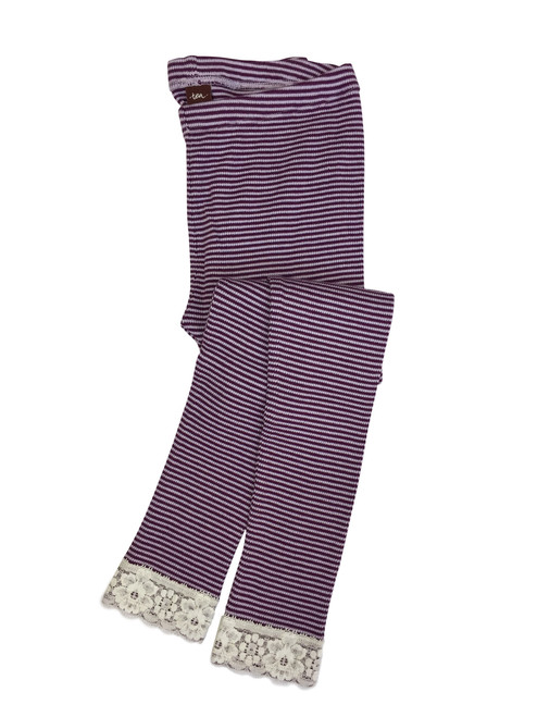 Purple Stripe Thermal Leggings