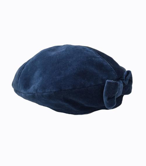 Beautiful Blue Velour  Beret Hat