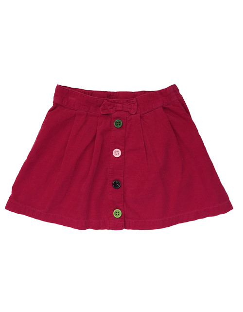 Buttons & Bow Corduroy Skirt