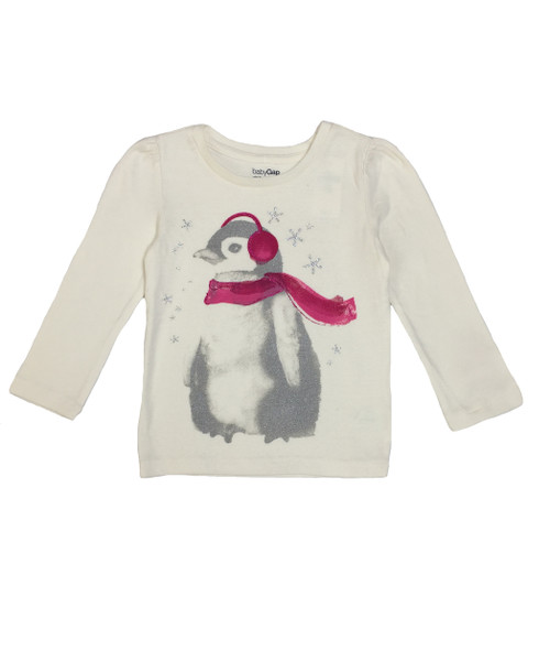 Ivory Penguin Gliter Shirt, Toddler Girls