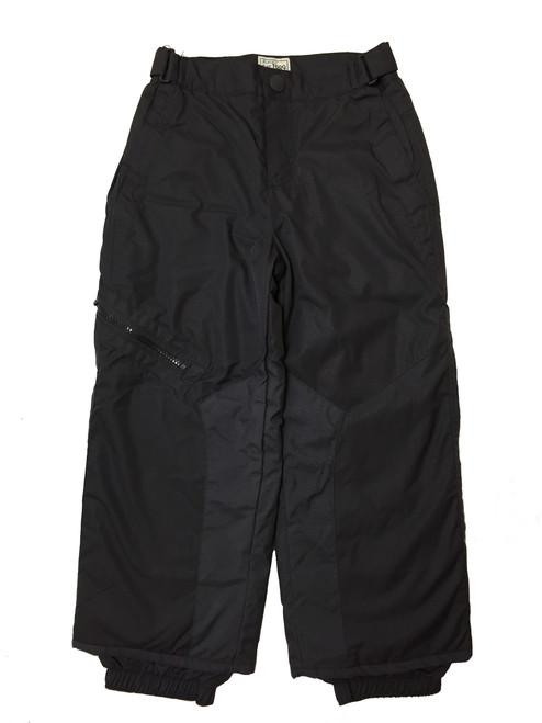 Boys Solid Black Snow Pants