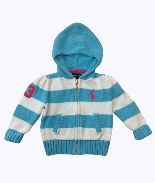 Turquoise Stripe Hooded Sweater
