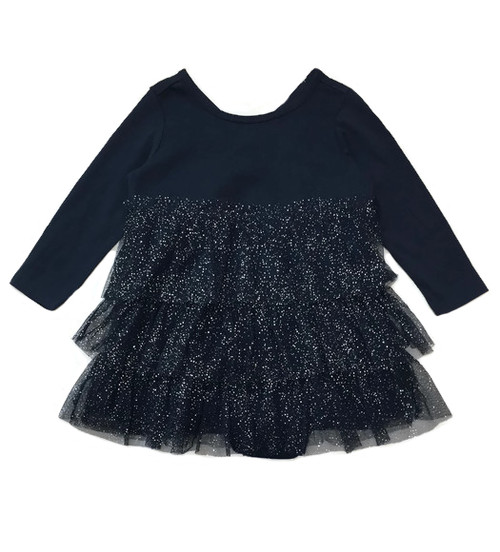 Navy Glitter Tiered-Ruffle Dress